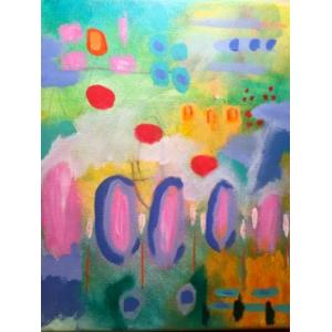 Abstract colorful painting. Pinks, purples, reds, yellows, teals, and greens. Circle patterns decorate the foreground.