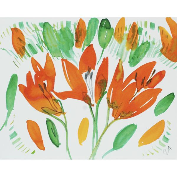 Watercolor red/orange flowers with green and yellow leaves on white paper.