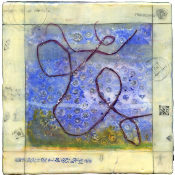 Square encaustic piece. Beige/yellow frame around blue/green coloring decorated with a swirling dark blue line.