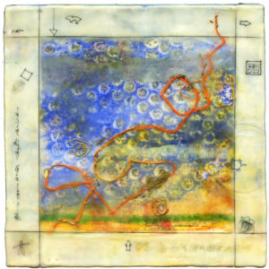 Square encaustic piece. Beige/yellow frame around a blue, green, and yellow center decorated with an orange swirling line.