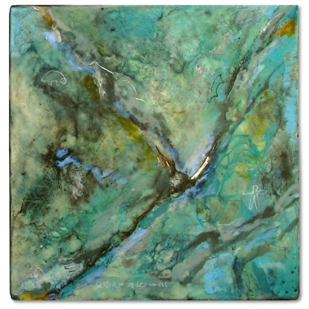 Square encaustic piece. Greens, teals, blues, decorated with dark green lines and swirls.