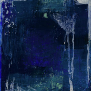 Abstract image of dark blues, blues, light blues, mixed with white. Mixed media piece.