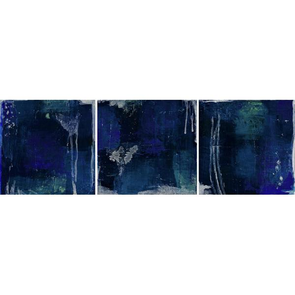 Abstract images of dark blues, blues, light blues, mixed with white. Mixed media piece.