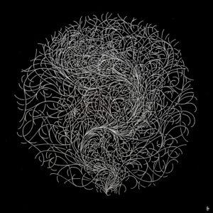Intricately circular pattern drawn with sliver gel pen on black paper.